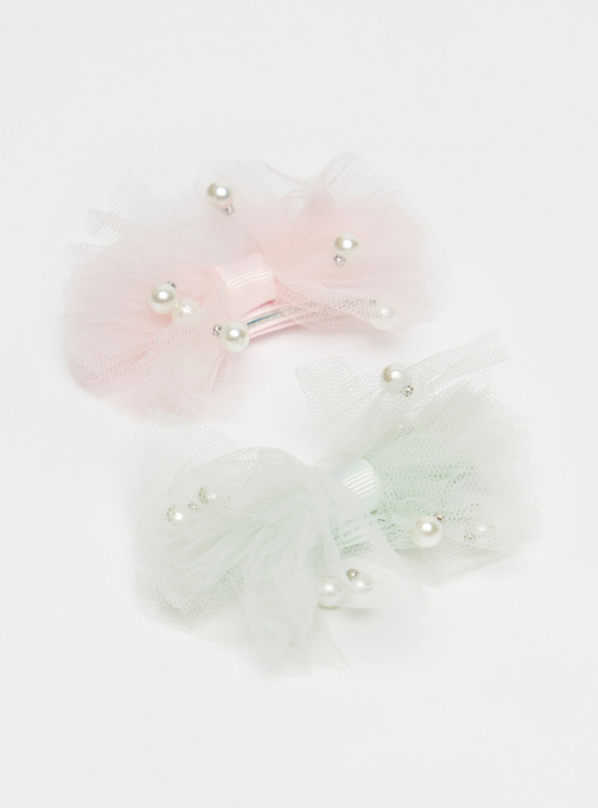 Set of 2 - Pearl Embellished Hair Clip
