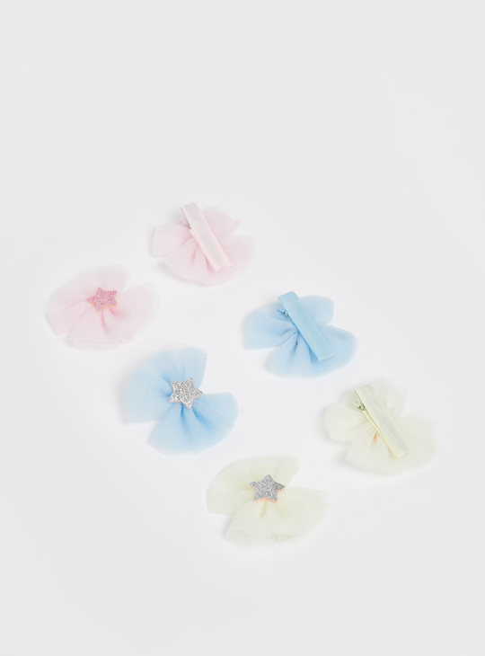 Set of 6 - Bow Hair Clip with Star Applique