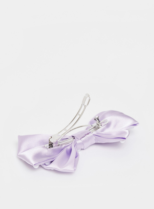 Bead Embellished Bow Shaped Hair Clip