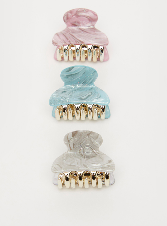 Set of 3 - Glitter Accent Hair Clamps