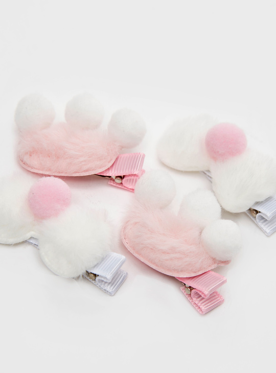 Set of 4 - Hair Clips with Pom Poms