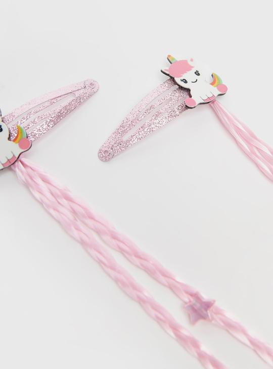 Pack of 2 - Unicorn Hair Clips with Braided Applique Detail
