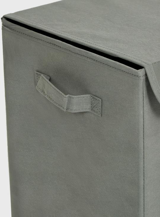 سلة غسيل بطبعات وغطاء ومقابض - 30x60 سم