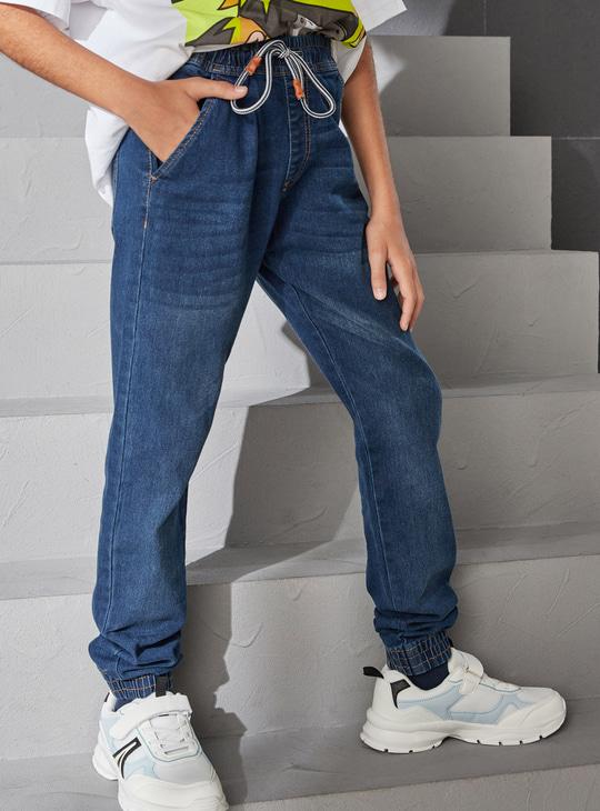 4-Pocket Denim Joggers with Drawstring Closure