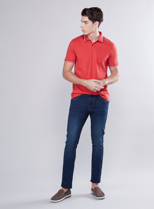 Skinny Fit Full Length Jeans with Pocket Detail and Belt Loops