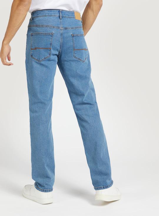 بنطلون جينز سادة بخصر متوسط الارتفاع مع زر للإغلاق وجيوب
