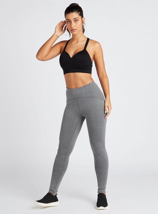 Slim Fit Full Length Solid Leggings with Elasticised Waist