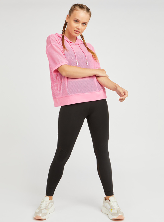 Textured Mesh Top with Hood and Short Sleeves