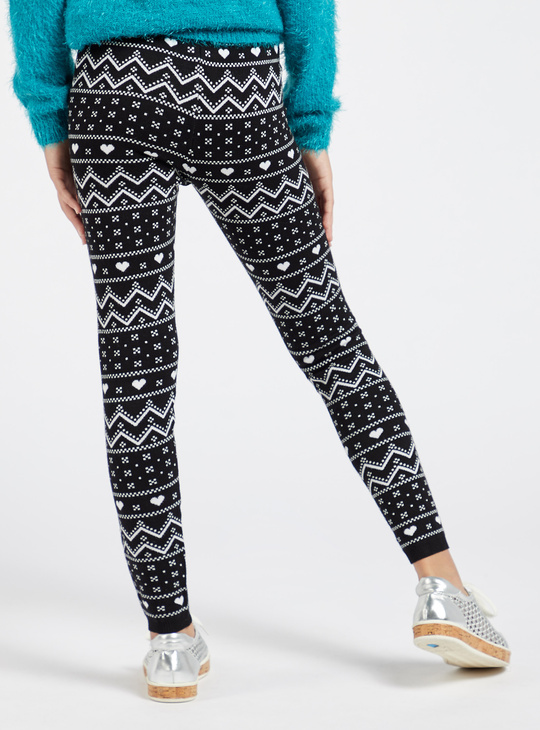 Printed Ankle-Length Leggings with Elasticised Waistband