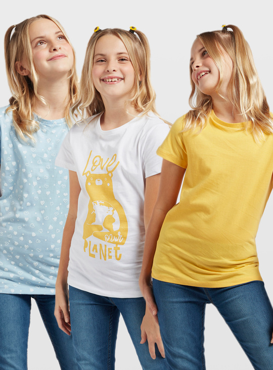 Set of 3 - Assorted T-shirts with Round Neck and Short Sleeves