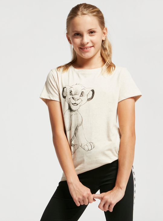 Lion King Graphic Print T-shirt with Round Neck and Short Sleeves