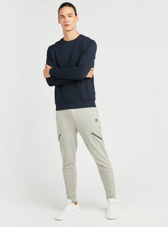 Textured Jog Pants with Pocket and Tape Detail