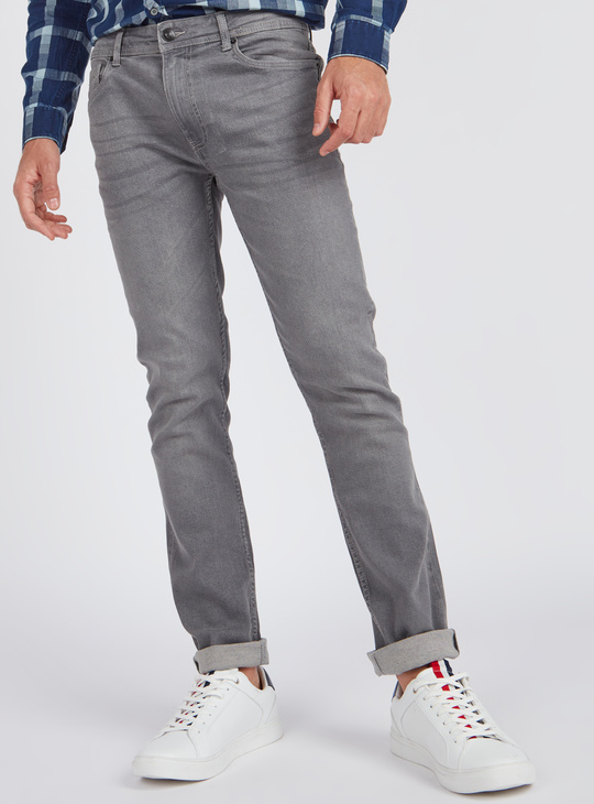 Slim Fit Mid Rise Jeans with Pocket Detail