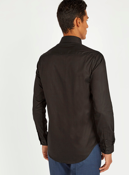 Solid Long Sleeves Shirt with Chest Pocket and Complete Placket