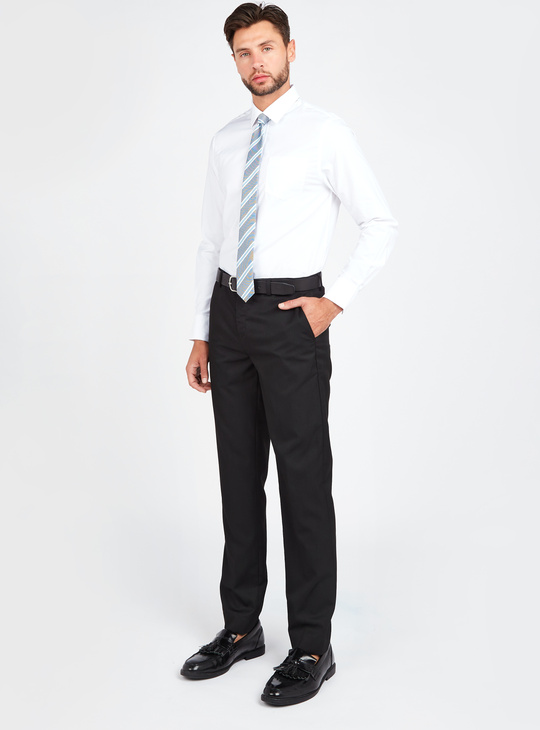 Slim Fit Solid Shirt with Long Sleeves and Pocket Detail