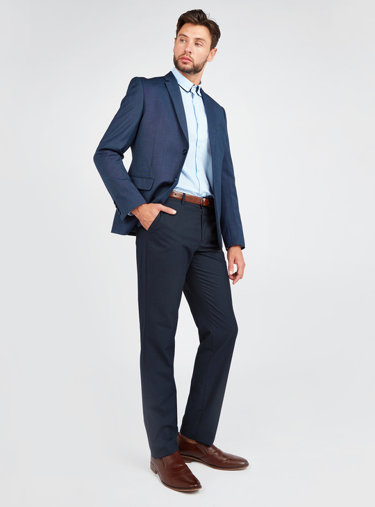 Slim Fit Solid Shirt with Long Sleeves and Double Collar