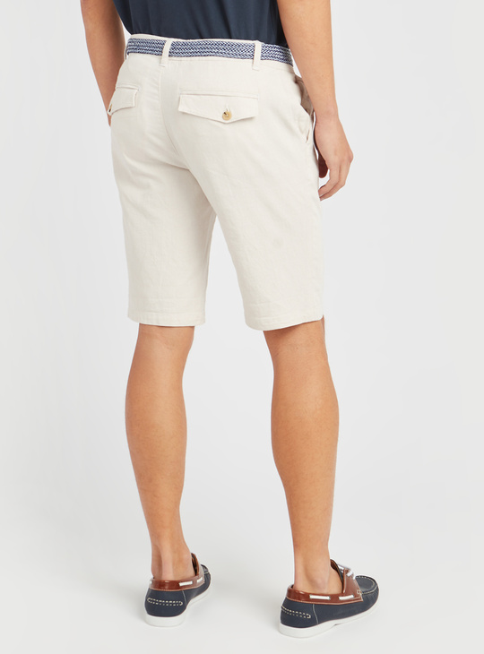 Textured Chino Shorts with Pocket Detail and Belt
