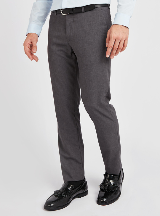 Slim Fit Solid Trousers with Belt Loops and Pocket Detail