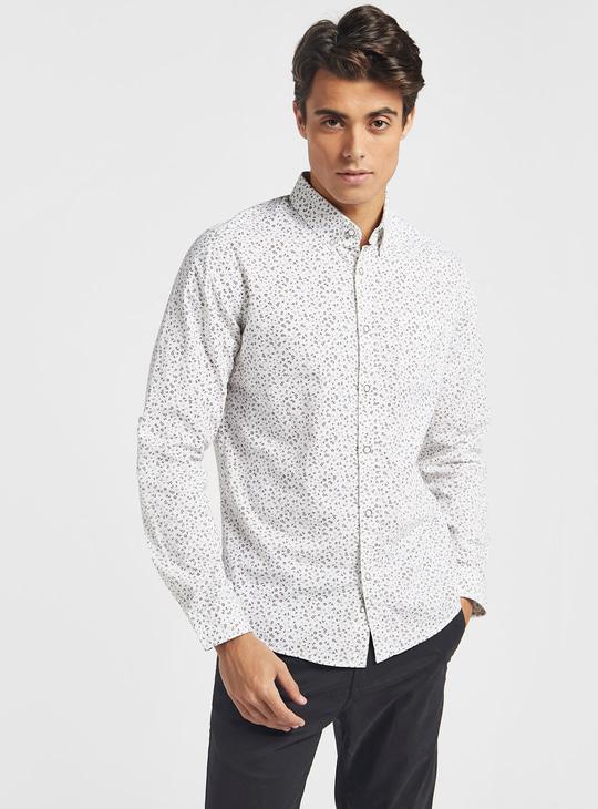 قميص بأكمام طويلة وياقة عادية وطبعات ديتسي