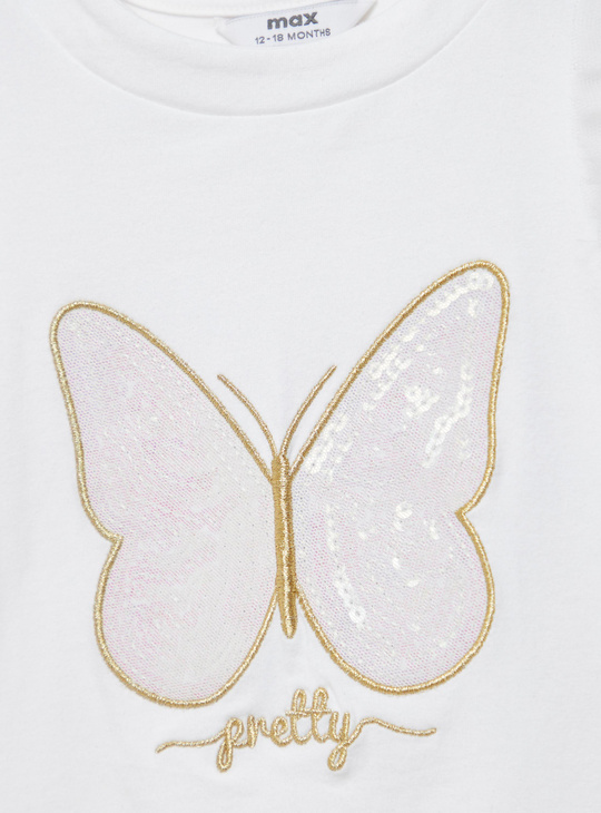 Sequin Embellished Round Neck T-shirt with Ruffle Detail
