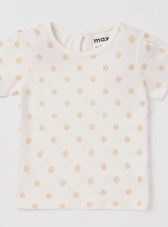 Set of 3 - Printed T-shirt with Round Neck and Short Sleeves