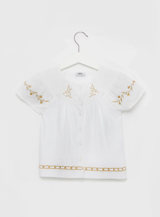 Embroidered Round Neck Top with Button Closure and Short Sleeves
