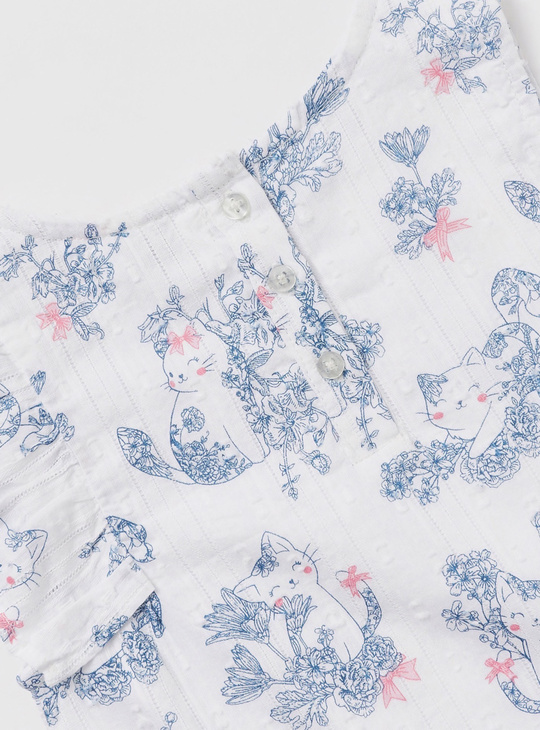 All-Over Floral Print Sleeveless Top with Frill Detail