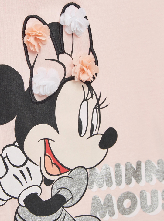Minnie Mouse Print Round Neck T-shirt with Short Sleeves and Ruffles