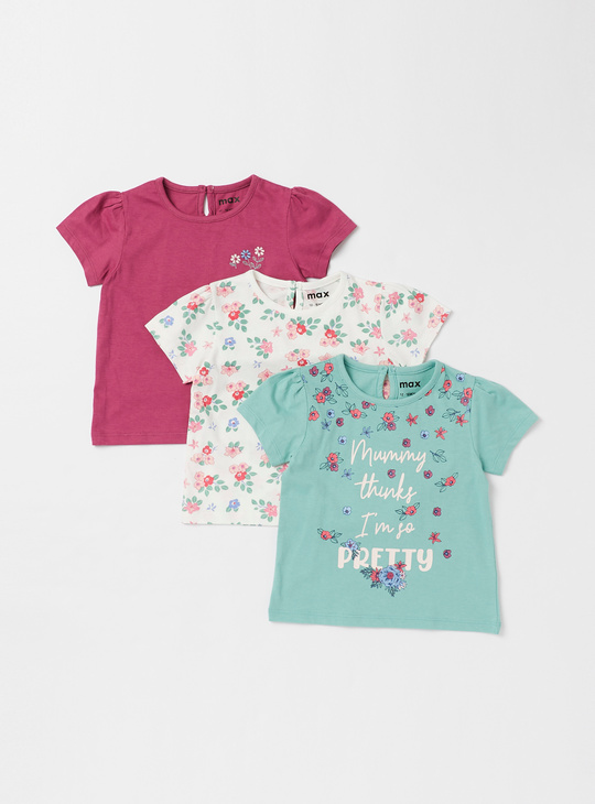 Set of 3 - Assorted T-shirt with Round Neck and Button Closure