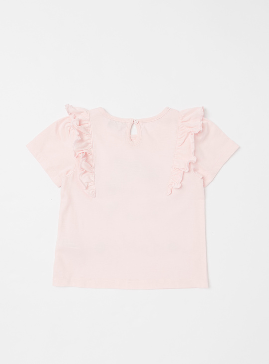 Printed T-shirt with Ruffle Detail and Short Sleeves