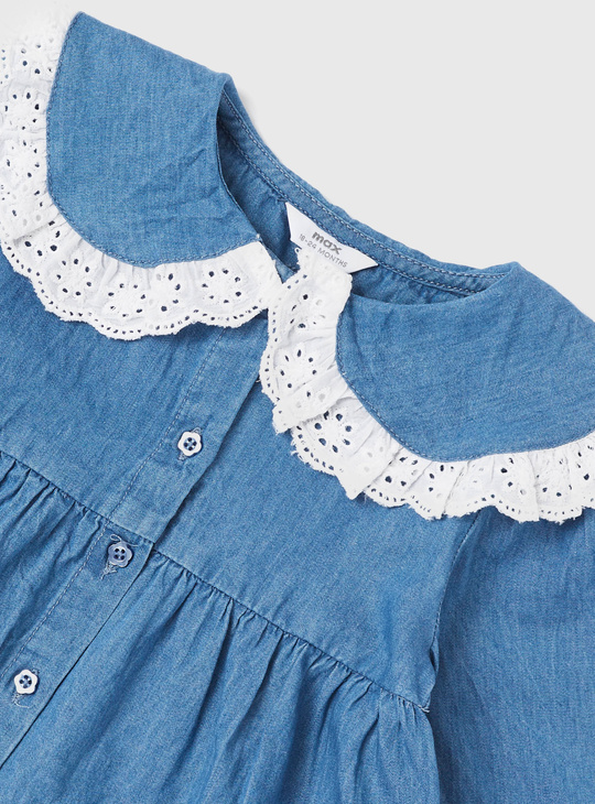Textured Denim Top with Lace Collar and Long Sleeves