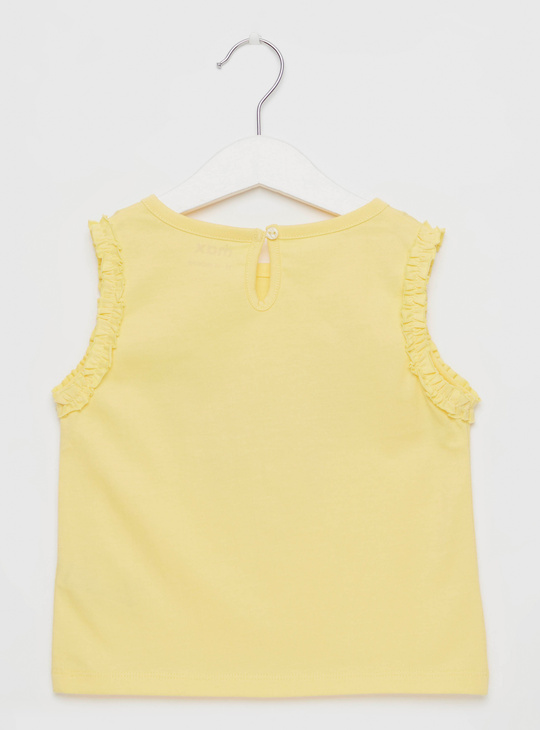 Butterfly Print Sleeveless T-shirt with Ruffle Detail and Round Neck