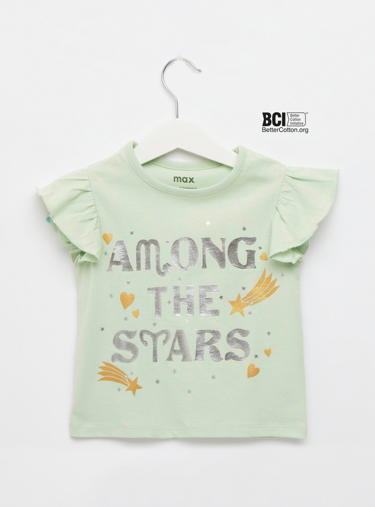 Foil Print T-shirt with Round Neck and Frill Sleeves