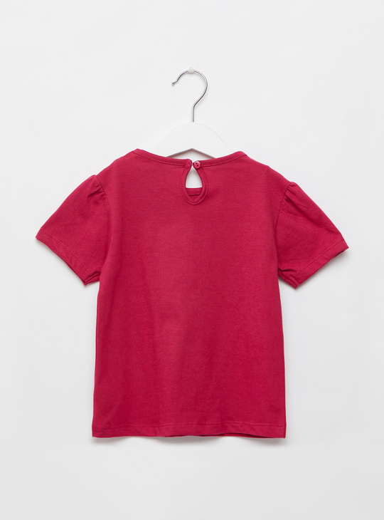 Text Print T-shirt with Round Neck and Short Sleeves