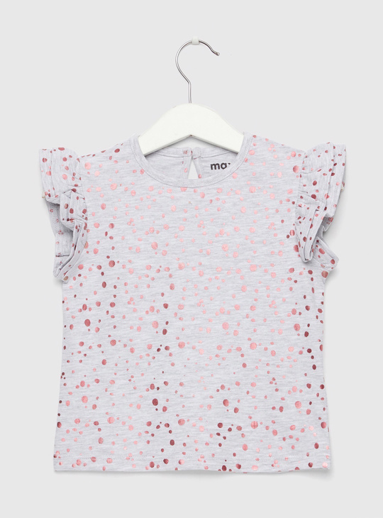 Polka Dot Foil Print T-shirt with Round Neck and Cap Sleeves