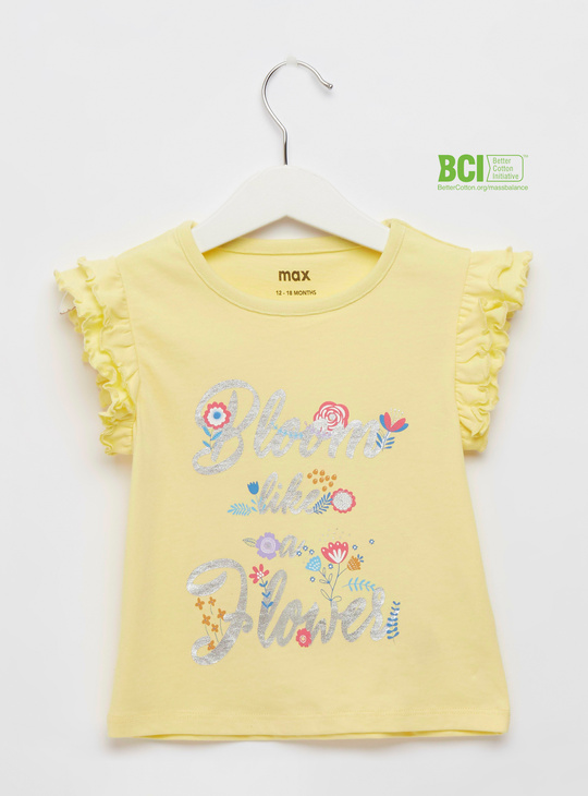 Printed Round Neck T-shirt with Ruffle Detail