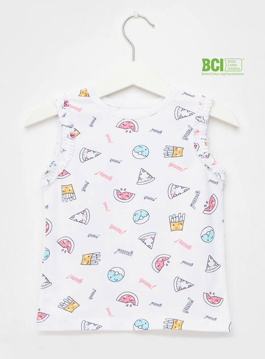 All-Over Print Sleeveless T-shirt with Round Neck