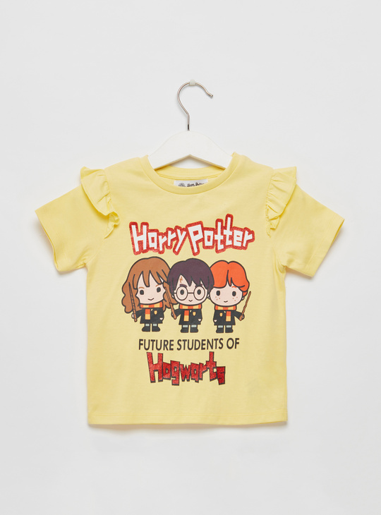 Harry Potter Graphic Print T-shirt with Frill Detail and Short Sleeves