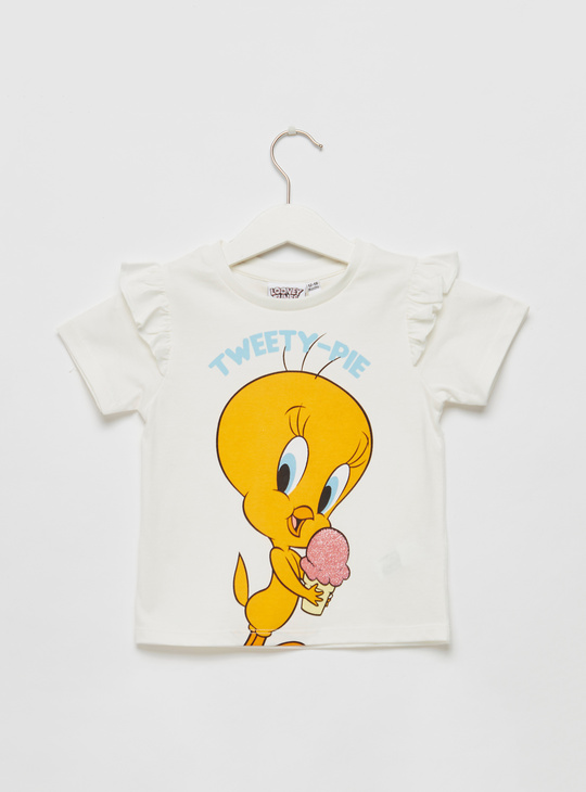 Tweety Graphic Print T-shirt with Round Neck and Frill Detail