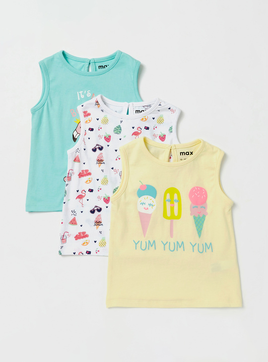 Set of 3 - Printed Sleeveless T-shirt with Round Neck and Keyhole Closure