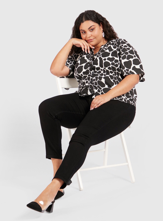 Full Length Skinny Fit Mid-Rise Jeggings with Elasticised Waistband