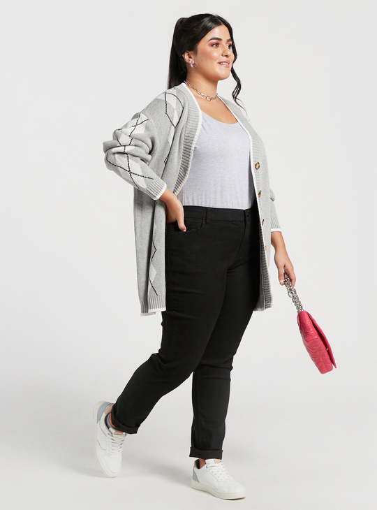 Skinny Fit High-Rise Full Length Jeans with Pocket Detail