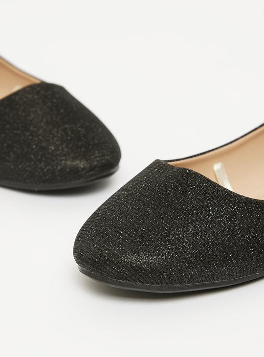 Glitter Accent Slip-On Round Toe Ballerinas