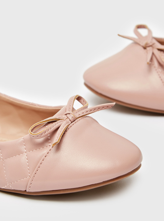 Quilted Slip-On Ballerina Shoes with Bow Accent