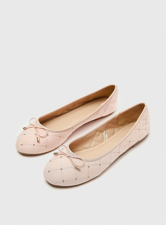 Embellished Ballerinas with Bow Applique Detail