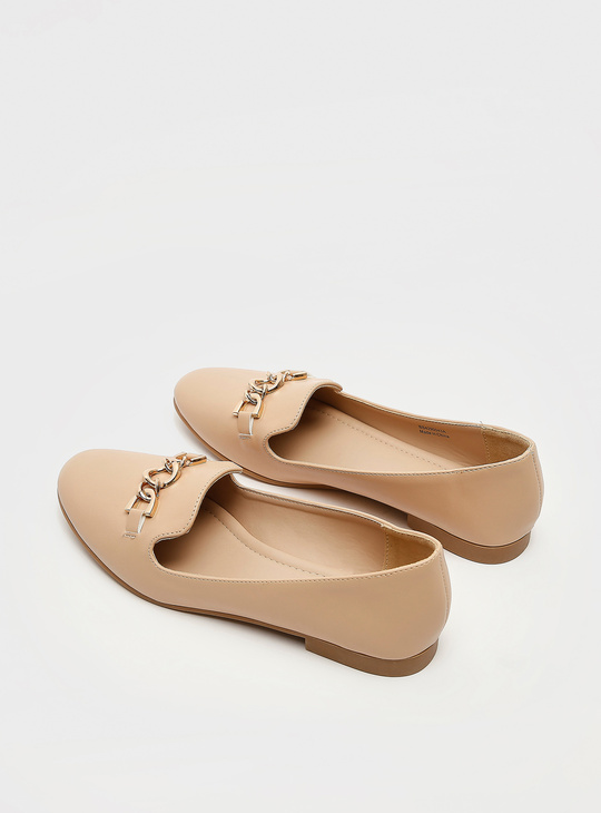 Solid Slip-On Ballerinas with Chain-Link Detail