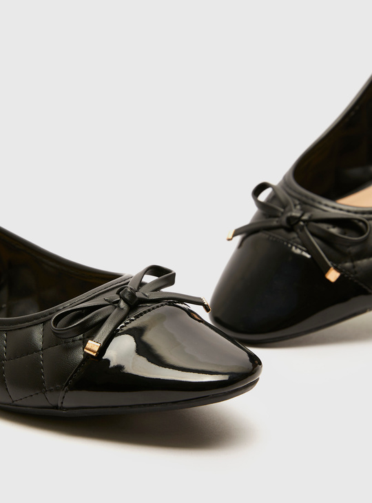 Quilted Ballerinas with Bow Applique and Glossy Vamp