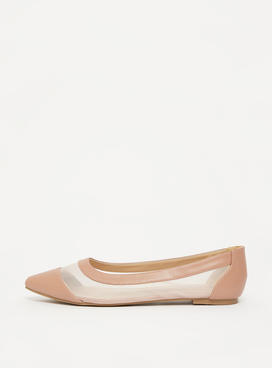 Solid Ballerinas with Mesh Detail
