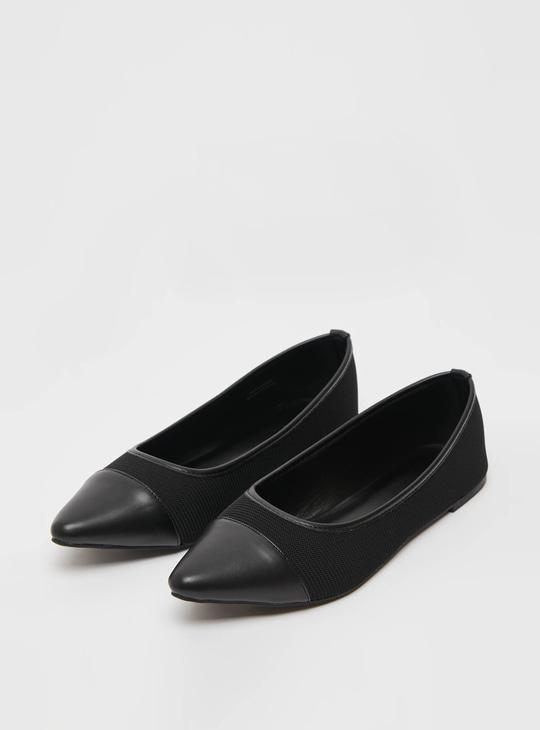 Pointed Toe Textured Slip-On Ballerinas