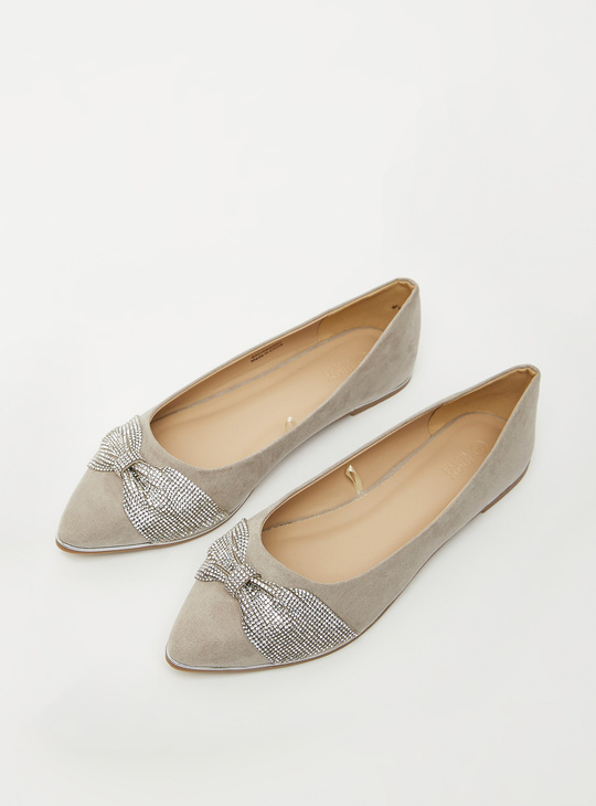 Solid Ballerinas with Embellished Bow Detail